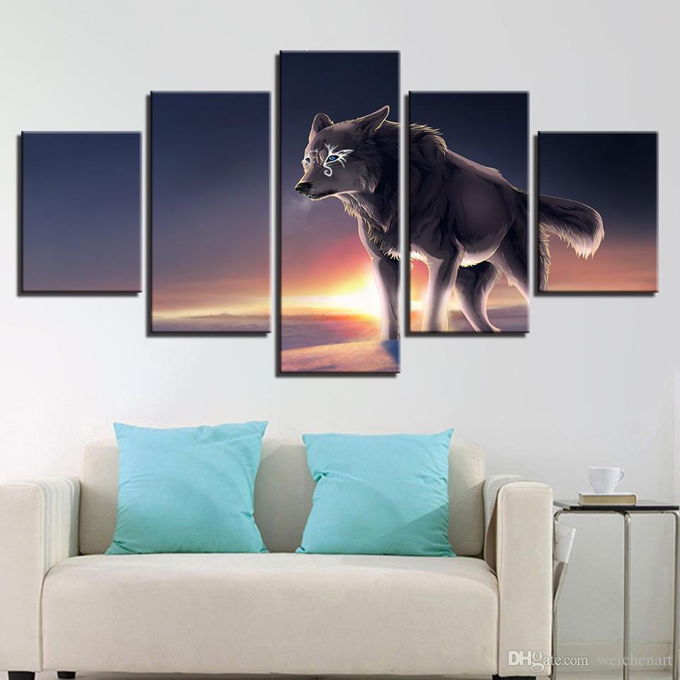 HD Stampe Immagini Modulari Living Room Home Decor Quadro 5 Pezzi Occhi blu Lupo grigio Dipinti su tela Poster Art Animal Poster