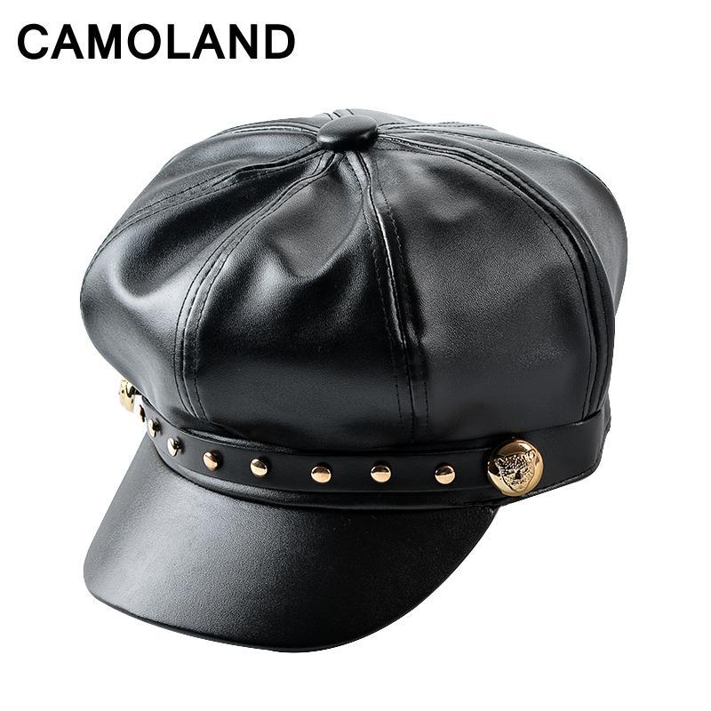 b7ba8c1701e31 Women Winter Baseball Caps Rivet Militar Bone Ladies Octagonal Hat ...