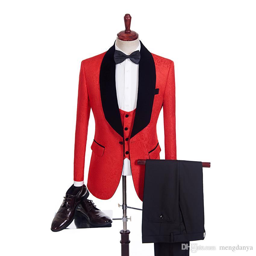 Acheter Custom Design Slim Un Boutons Rouge Jacquard Marié Tuxedos Noir Châle  Revers Meilleur Homme Groomsmen Hommes Costumes De Mariage Veste + Pantalon  + ... d9ab7055bfe