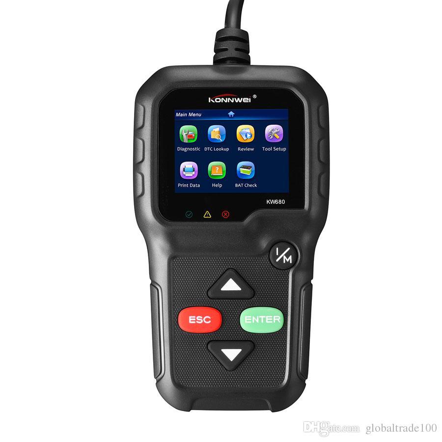 Scanner de diagnostic KONNWEI KW680 de voiture de OBD2 pleine fonction d'OBD2 OBD 2 scanner multi-langue du scanner OBD2 des véhicules à moteur