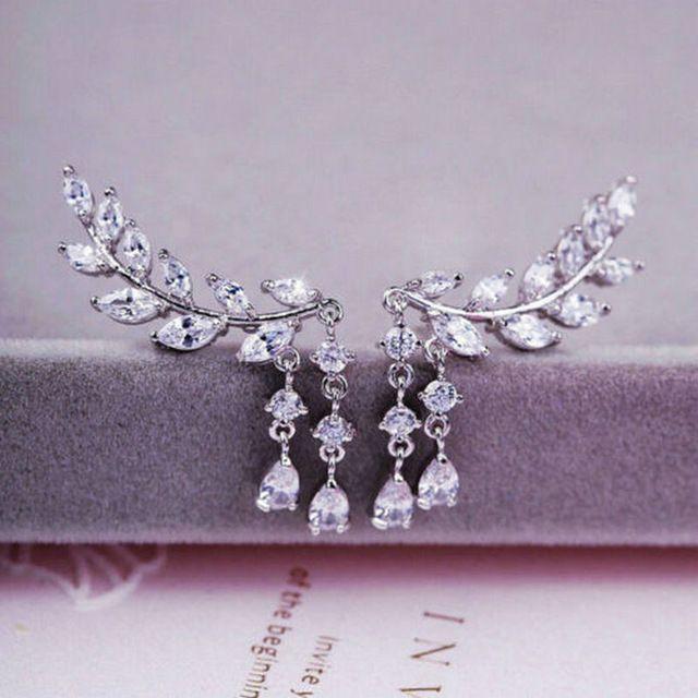 Kadınlar Altın Gümüş Kaplama Kristal Zirkon Yapraklar Püskül Kulak Dangle Küpe Takı KKA1104