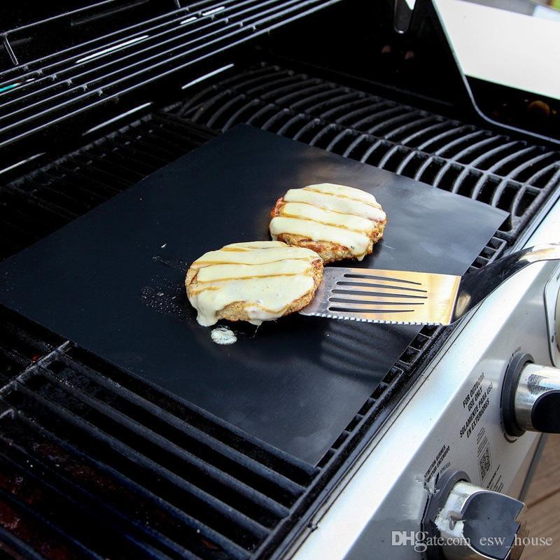 바베큐 굽고 바베큐 그릴 매트 굽고 쉬운 비 스틱 및 재사용 만들기 휴대용 33 * 40 CM, 0.2 MM 블랙 오븐 핫 플레이트 매트