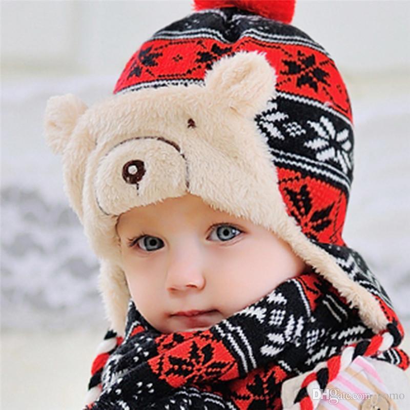 ea8ddc31bcc 2019 Baby Hat Scarf Set Cartoon Bear Fleece Children S Cap Hairball Snowflake  Caps For Boy Girls Winter Warm Hat Beanie From Gomo