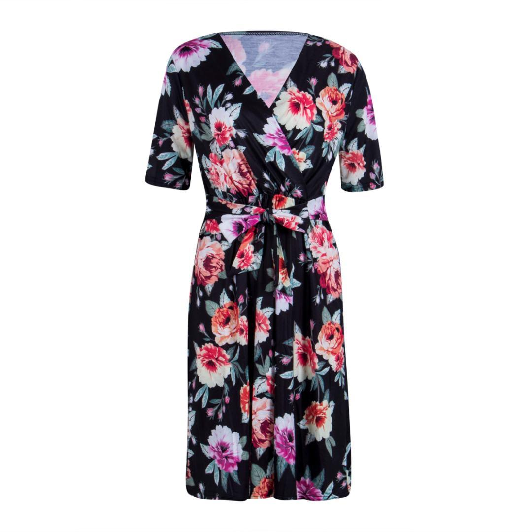 44df41326679 Maternity Dress Women Half Sleeve V-Neck Bandage Belt Print Dresses ...