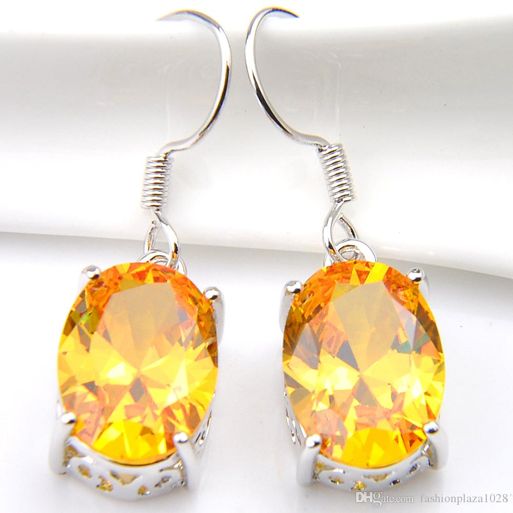 Luckyshine New Holiday Gift Jewelry Gold Yellow Citrine Gems 925 Silver Russia USA Australia Earrings Drop Earrings Free Ship