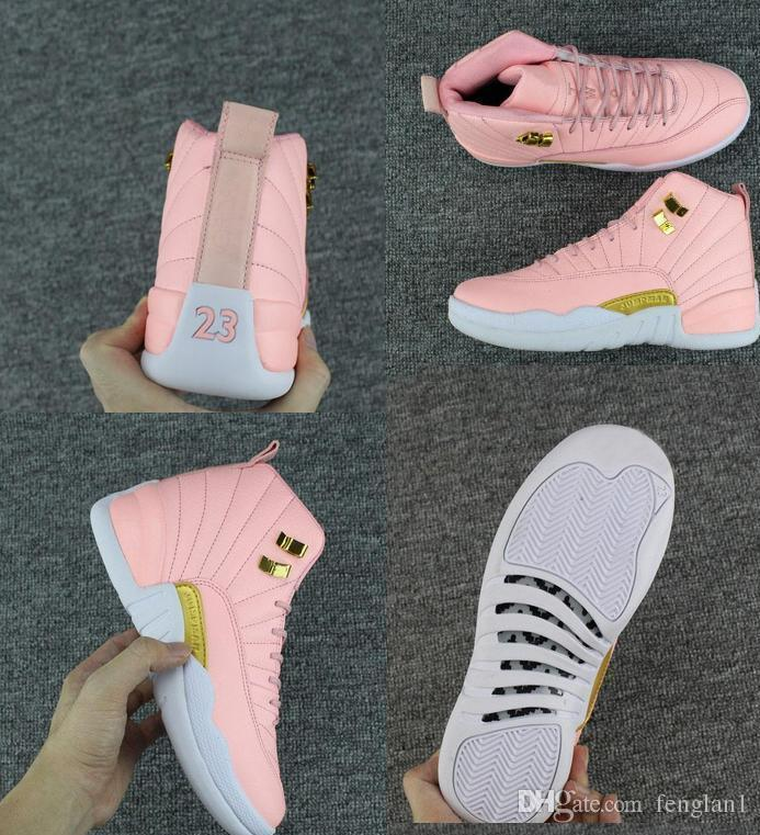2018 New GS Pink Lemonade 12 Women Kids Basketball Shoes Pink Lemonade 12s Womens  Kids Trainers Zapatos Sneakers Size 36 40 Childrens Running Gear Cushioned  ... 78c4104f2