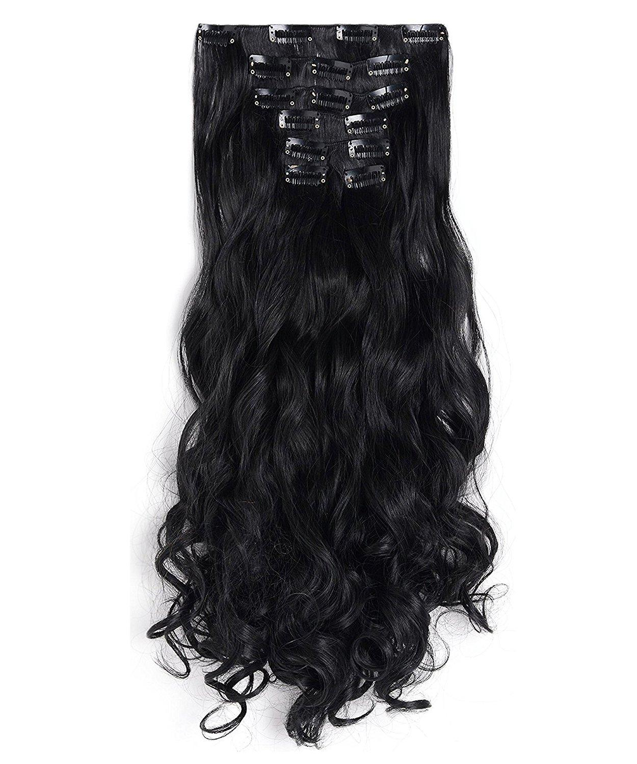 Clip In Hair Extension Curly Full Head High Quality Synthetic Hair