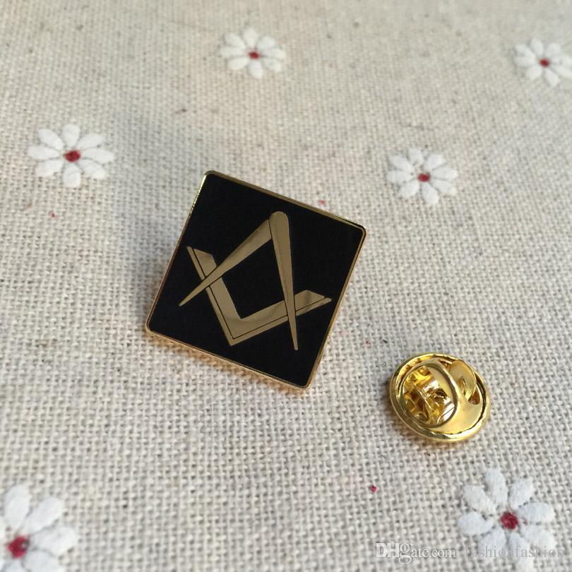 100pcs free masons lapel pin souvenir lodge freemasonry square brooches and  pins custom masonic metal badge craft