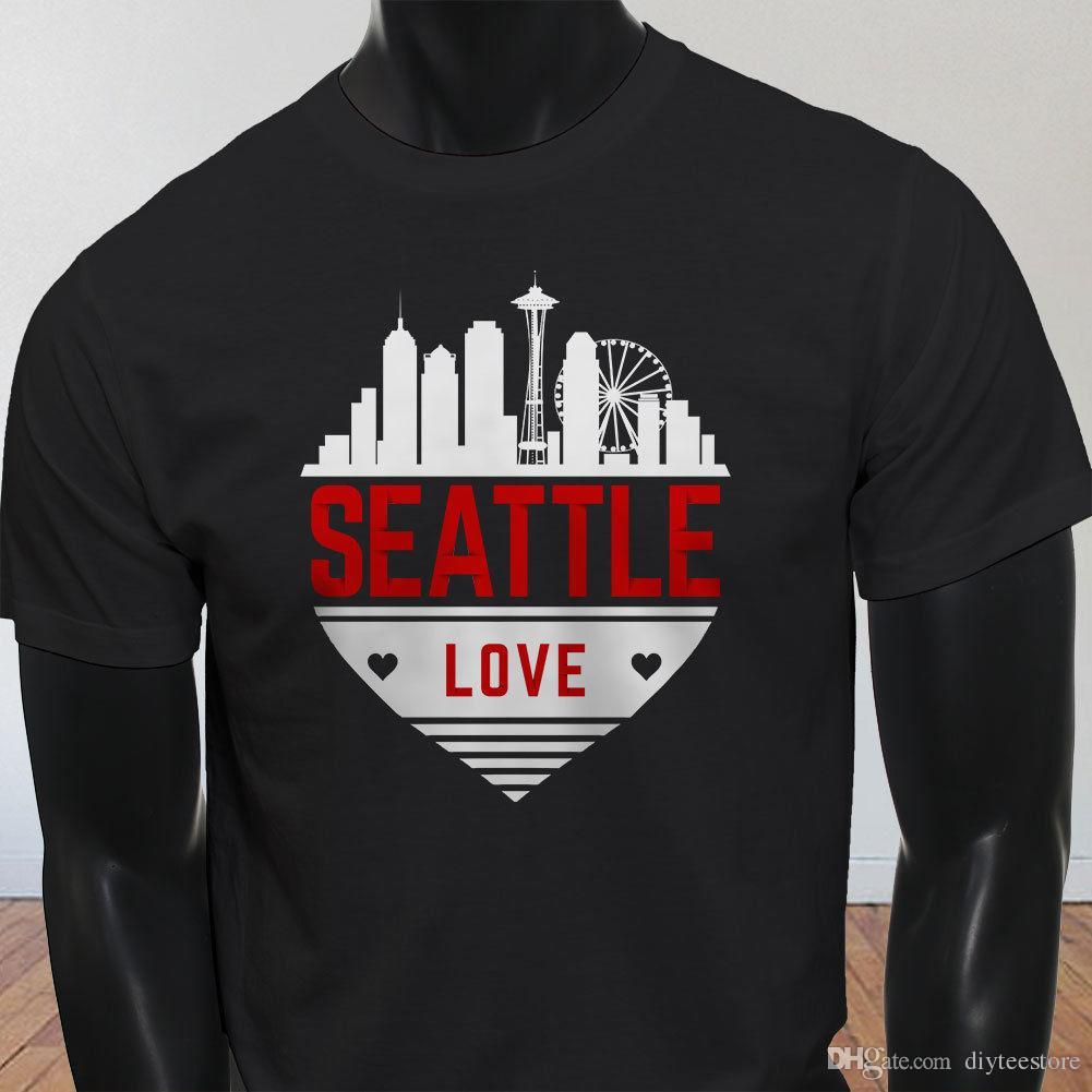 Seattle Love Skyline Heart Washington Tourist Mens Black T Shirt T