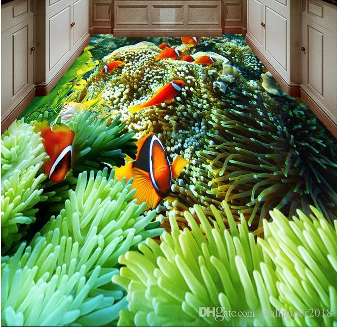 Papel de Parede Цвет Подводный Мир Ванная Комната Ванная Комната Спальня Пол обои для детской комнаты
