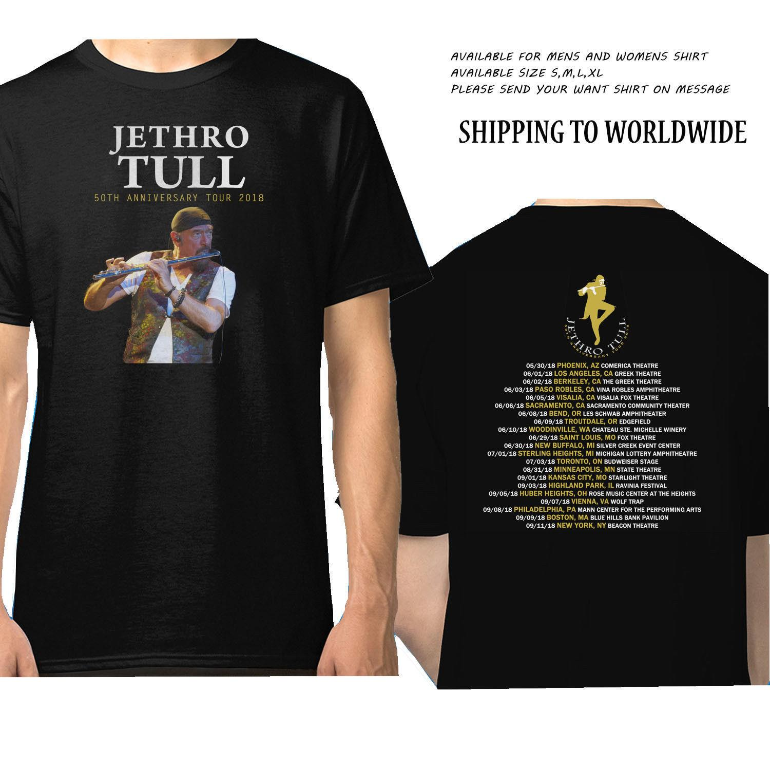 02709342 JETHRO TULL 50th ANNIVERSARY Tour Dates 2018 Black T Shirt Funny Tee Shirts  Hipster O Neck Cool Tops Hip Hop Short Sleeve In T Shirts T Shirts For From  ...