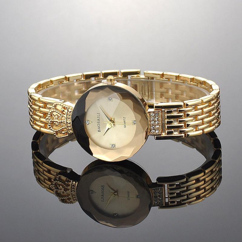 corona di orologio del diamante delle donne dell'oro di lusso di abbigliamento fashion quarzo superficie di taglio Ladies abito da strass diamante orologi da polso