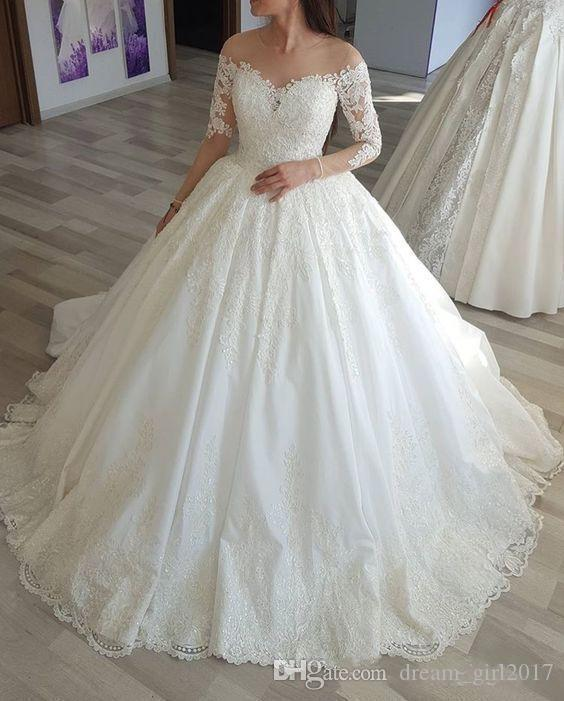 Princess Ball Gown Long Sleeve Wedding Dress Illusion Neck Lace