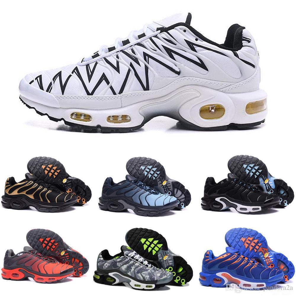 sports shoes bfc1d 952f7 Compre Nike TN Plus Air Max Airmax Descuento De Alta Calidad Zapatos  Deportivos Para Correr TN Men Negro Blanco Rojo Para Hombre Transpirable Zapatillas  De ...