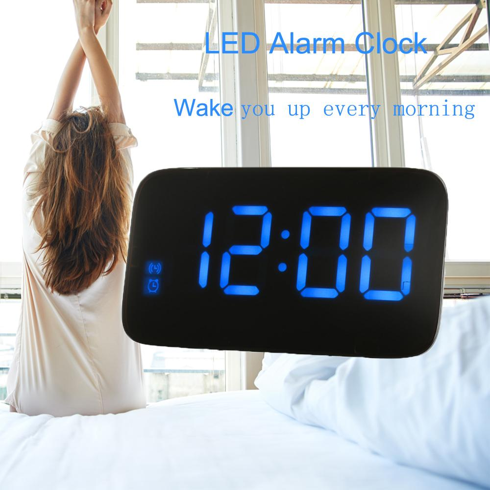 LED Digital Alarm Clock Desktop Clock Voice Control Time Display Electronic  Snooze Backlight Table Digital Watch With USB Cable