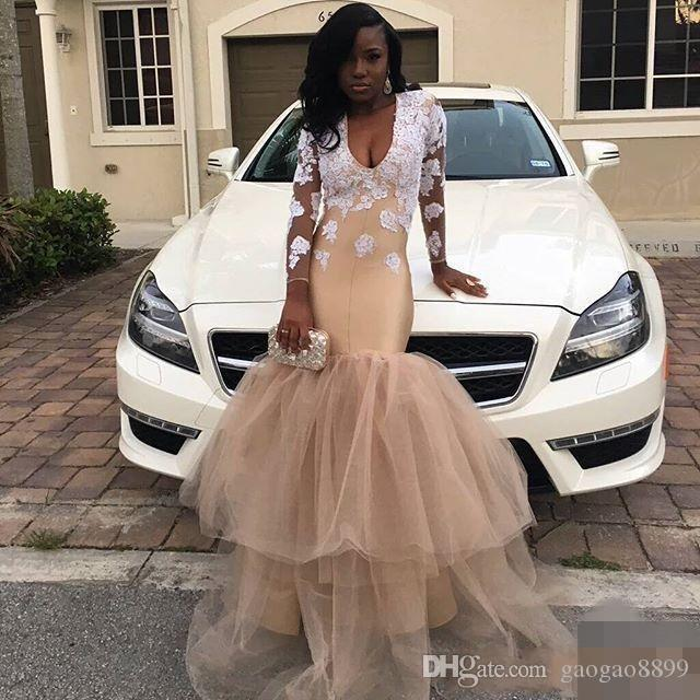 2019 African Black Girls Long Prom Dresses Party Wear Lace Appliques Sheer Long Sleeves Formal Dress Evening Gowns Mermaid Party Gowns