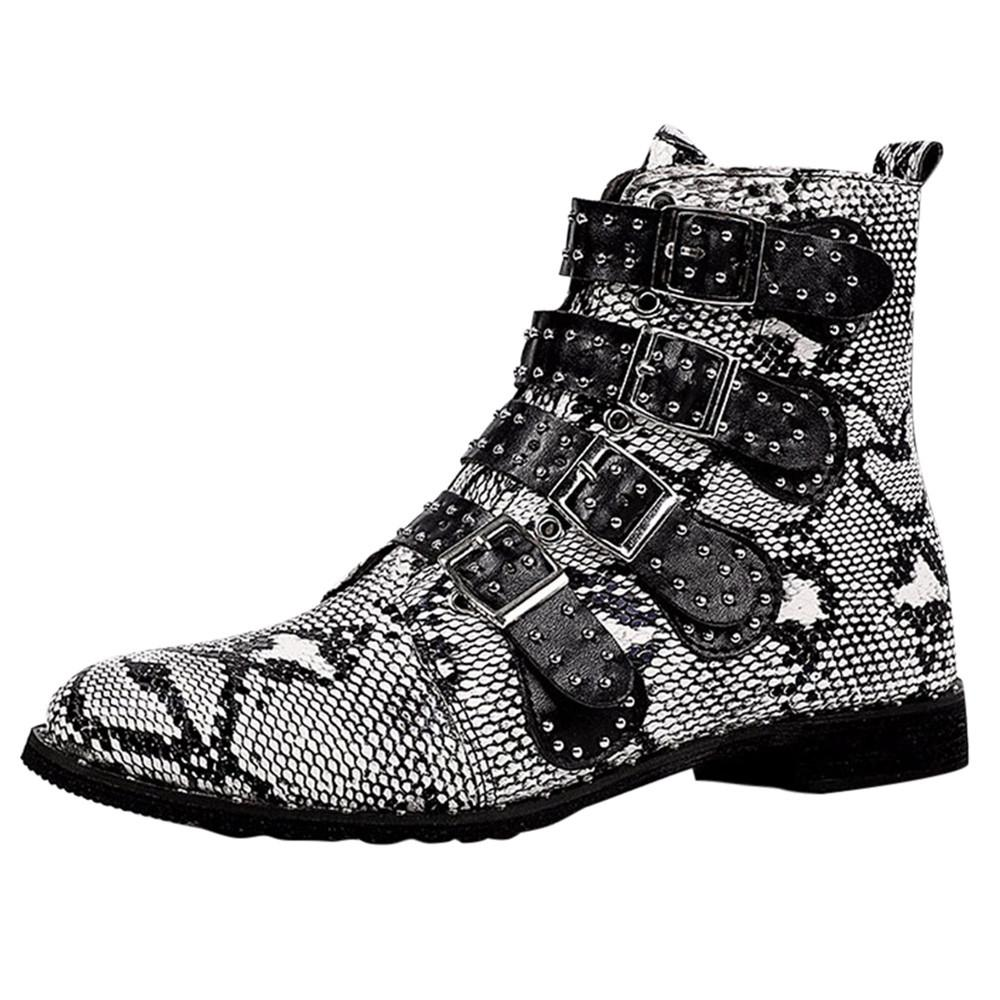7500c8da9d14e Compre Zapatos Para Mujer Botas Impermeables Mujer Piel De Serpiente De  Impresión Hebilla Motocicleta Fresca Martin Mujeres Botas De Nieve Botas De  Nieve ...