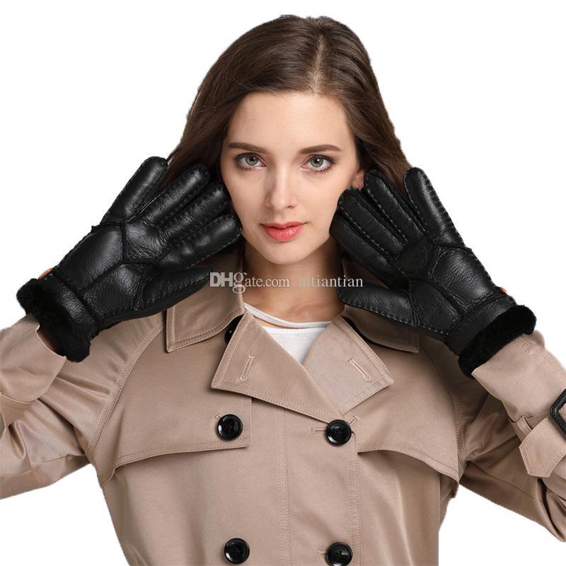 Toptan Satış - Yeni Sıcak kış bayan deri eldiven gerçek yün kadınlar% 100 ücretsiz gönderim