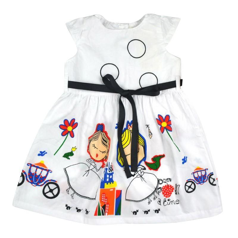 Fashion Summer Girls Dress Kids Casual Clothes Baby Girl Dress with Sashes Robe Princess Dress Abbigliamento bambini