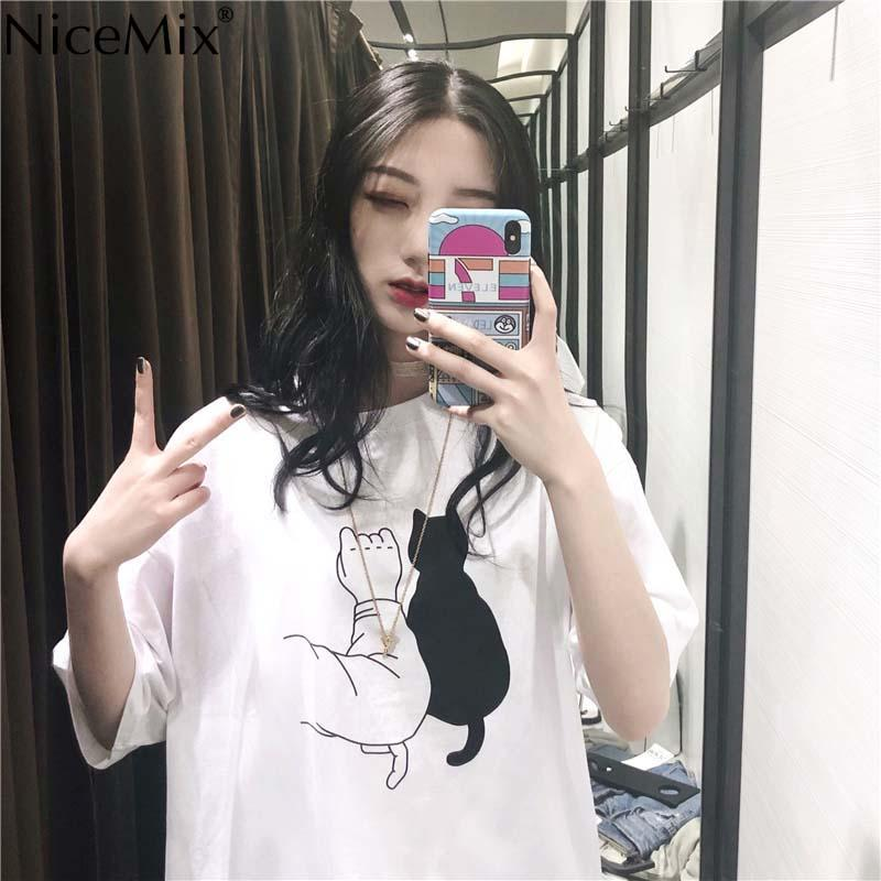 b9b4f6699da3a NiceMix 2018 Plus Size Harajuku Tops Women Print Funny Cat Ladies Casual  Short Sleeve White T Shirt Summer Loose T Shirt Crazy T Shirts Designs  Ridiculous T ...
