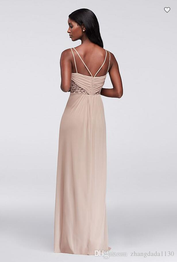 2018 New Arrival F19418 Double-Strap Mesh Dress with Lace Insets Custom Made Bridesmaid Dress