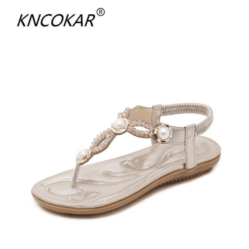 KNCOKAR 2018 Summer women's new casual pure color fashion string beads pearl comfortable flat shoes large size sandals