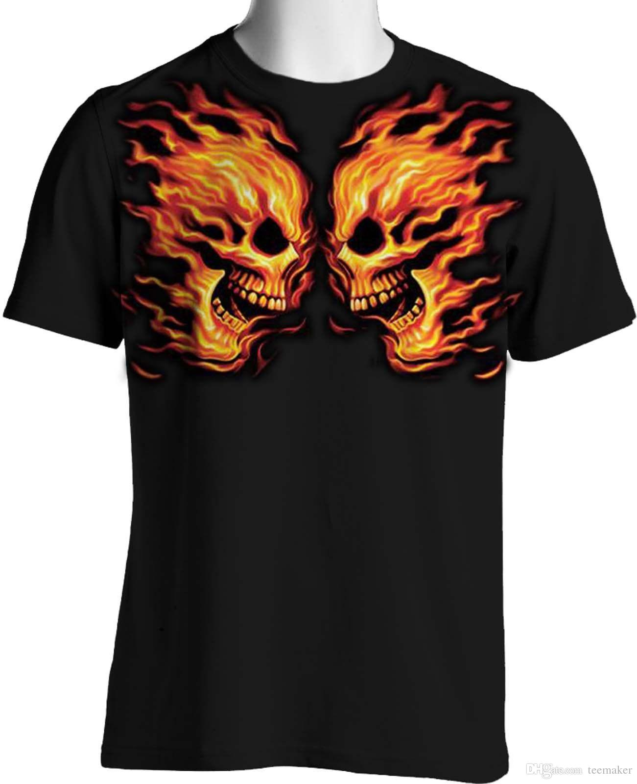 a721a4021 Screaming Flaming Skulls Graphic T Shirt Tattoo Face Mens Big Tall 7X 8X T  Shirt For Men Tailored Custom Short Sleeve Valentine's Plus Size