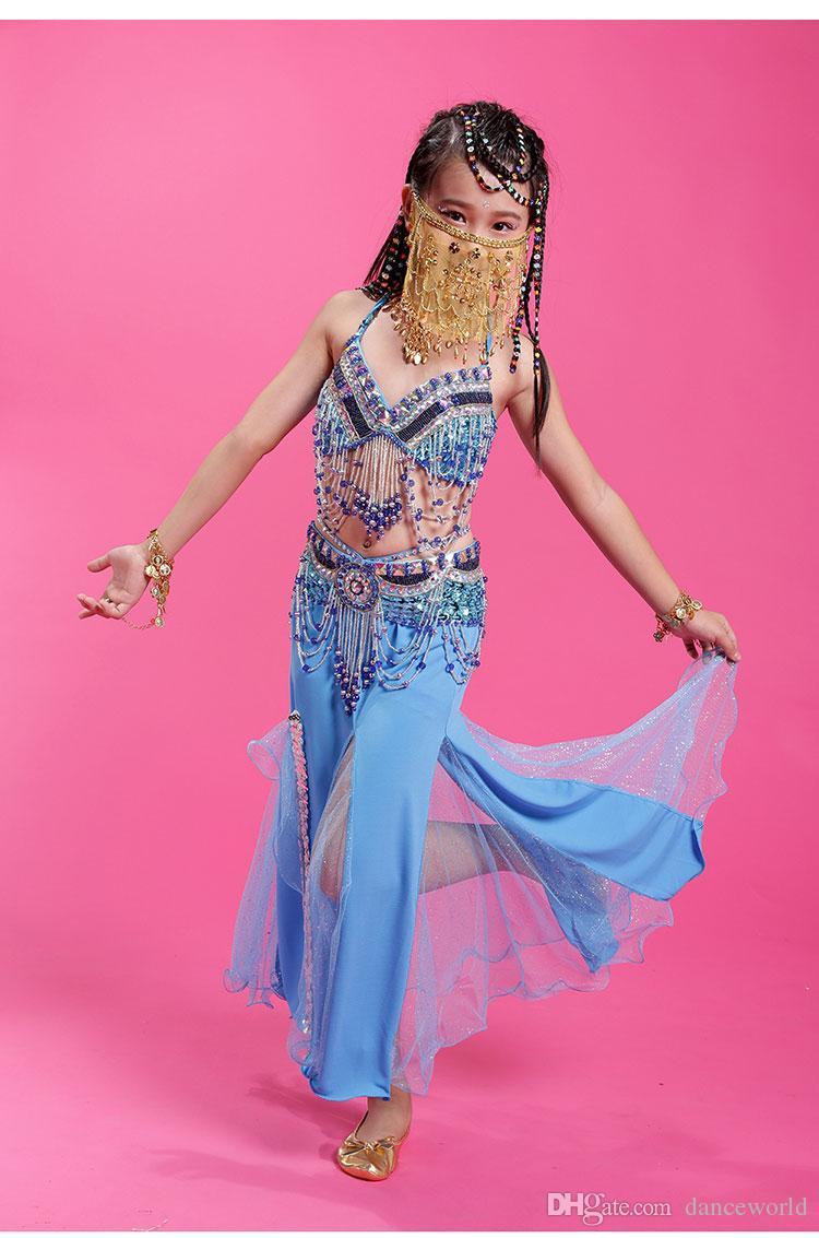 2018 Kızlar / Çocuklar / Çocuklar Hint Oryantal Dans Kostümleri 4 adet Sutyen + Elbise + Bel Sızdırmazlık + Peçe Oryantal Dans M / L / XL Kız Oryantal Giyim
