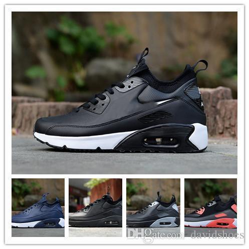 the latest bf4f3 540ae Acheter 90 Chaussures Designer Chaussures Ultra 2 Cuir Luxe Mode Air Black  White Hommes Chaussures De Course Formateurs Baskets Randonnée Pédestre De   50.77 ...