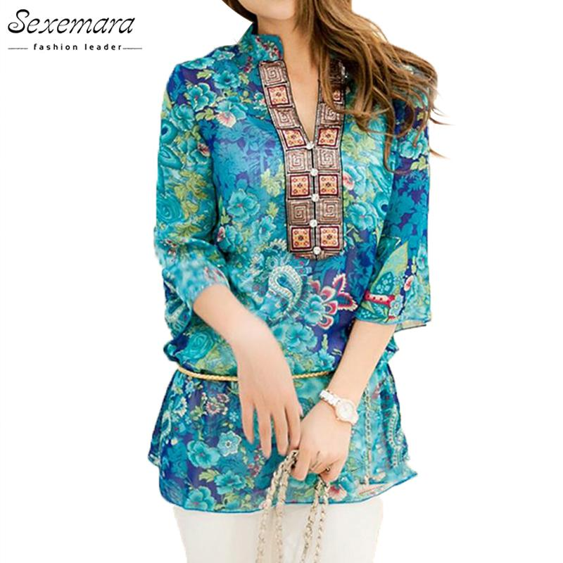 a9f79749e 2019 2017 Summer Women Shirt Blouse Style Fashion Chiffon Half Sleeve Plus  Size 5XL Floral Casual Top Embroidery Woman Tunic Blouses From Vanilla04