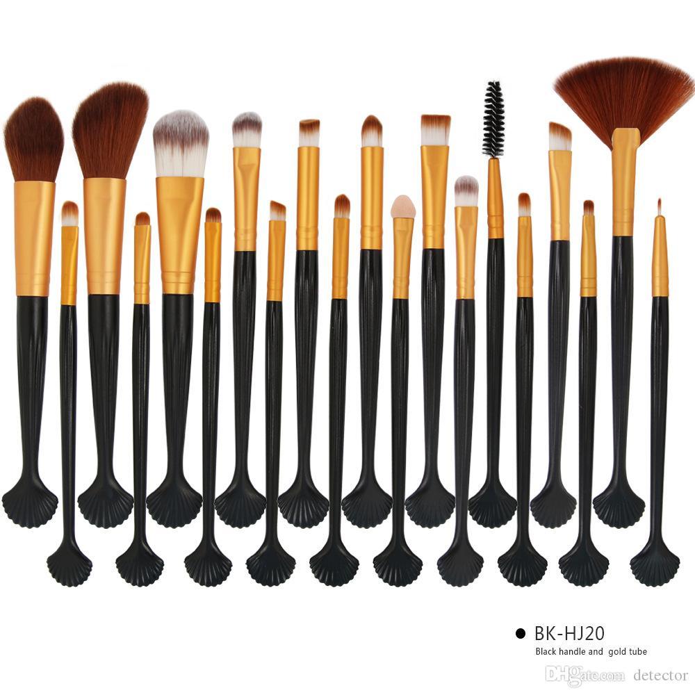 20 teile / satz Shell Make-Up Pinsel Set 15 farben Professionelle Lidschatten Eeybrow Eyeliner Lip Foundation Powder Concealer Kosmetik Pinsel