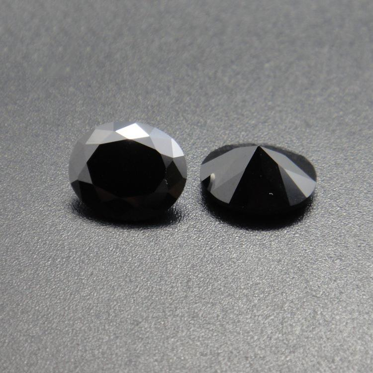 Factory Good Quality 3A Grad Black CZ Oval Cut 10*12-13*18mm Cubic Zirconia Synthetic Loose Gemstone Beads For Jewelry Making