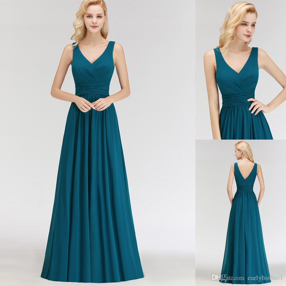 13952a5670 Real Image Straps Peacock Bridesmaid Dresses Chiffon 2018 New Simple Ruched  Draped Formal Occasion Wear Evening Gown Custom Made BM0034