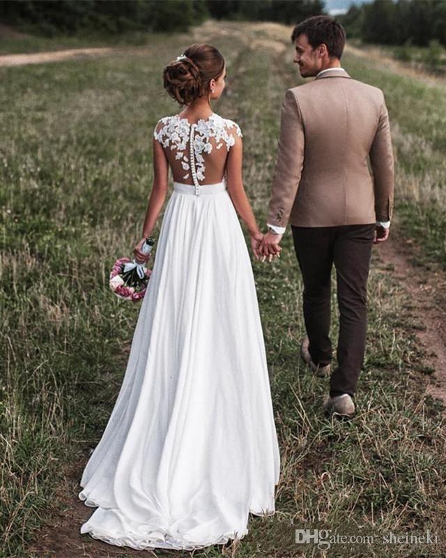 2018 Günstige Chiffon Sheer Neck Strand Land Brautkleider Cap Sleeves Spitze Appliques Bodenlangen Backless Brautkleider nach Maß