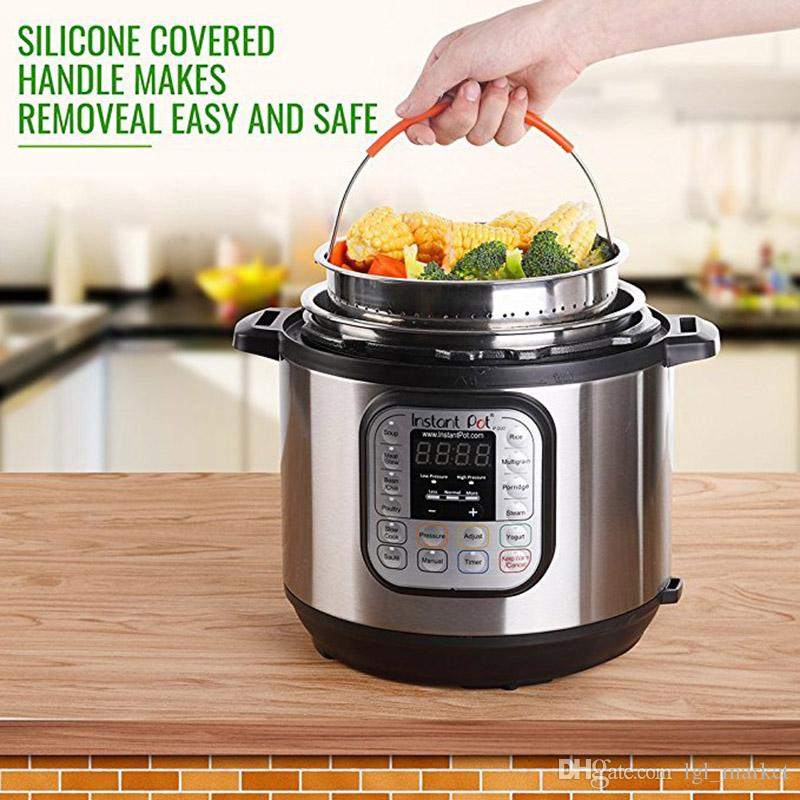 2018 New Steamer Basket for 8 Quart Instant Pot Pressure Cooker Sturdy Stainless steel Steamer Insert with Silicone Covered Handle