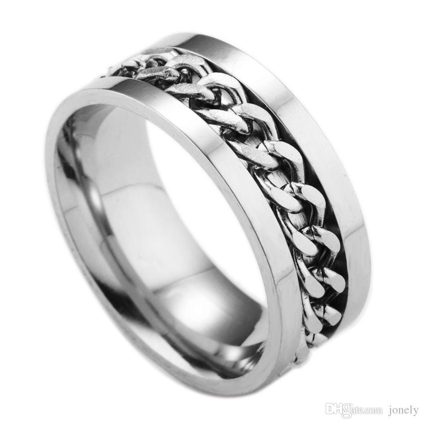 Mens Wedding Rings 8mm Chain Design Stainless Steel Spinner Rings