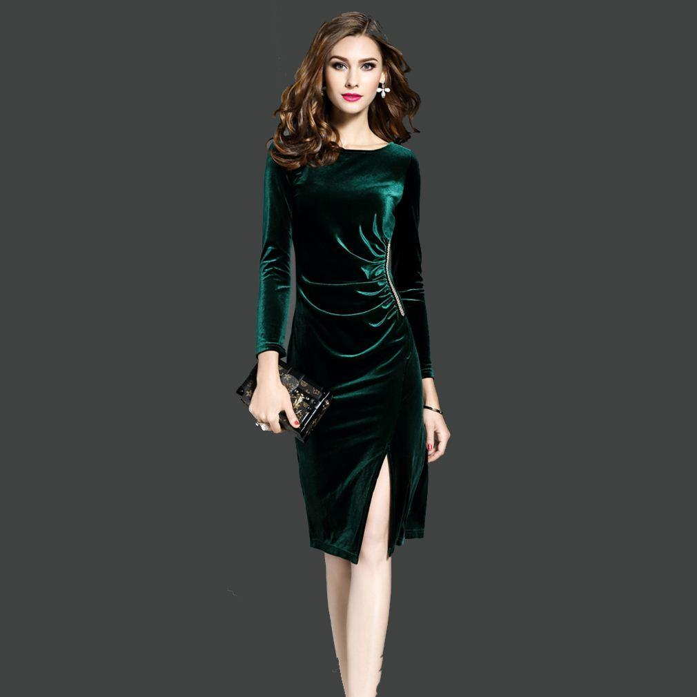 a5fa16da83f 2019 Women Green Velvet Dresses Plus Size Elegant Autumn Winter ...
