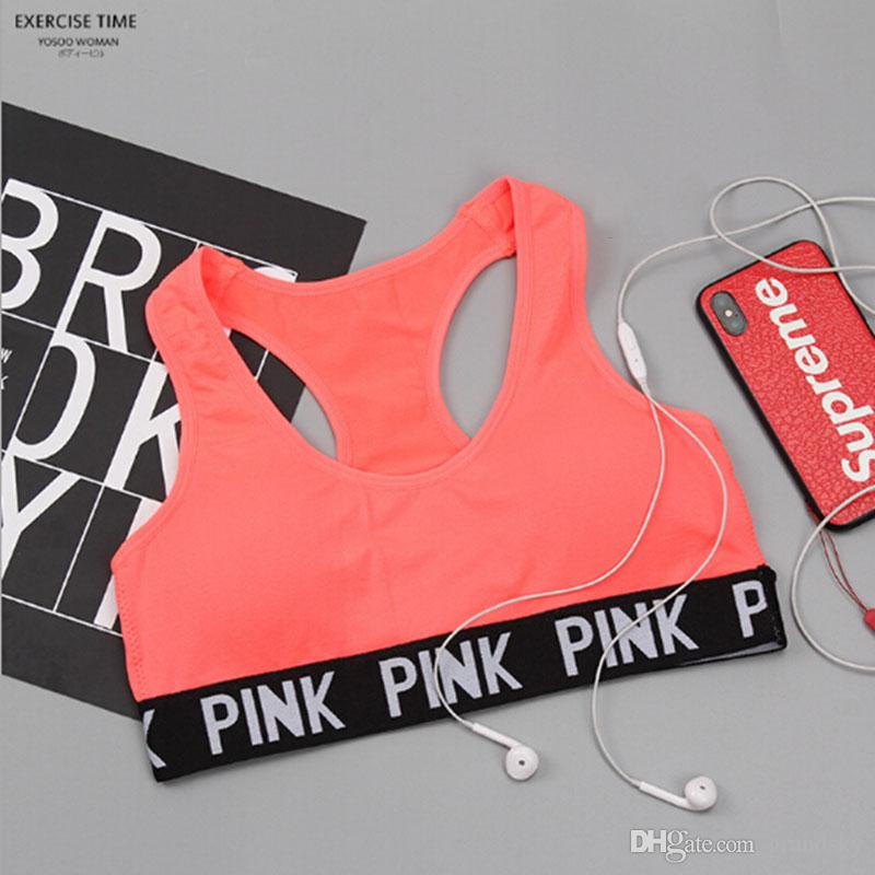 ce746093425d9 2019 2018 Love Pink Letter Sexy Women Sports Bra Running Yoga Vest Shirts  Shakeproof Gym Fitness Bra Push Up Elastic Crop Tops Underwear From  Grandsky