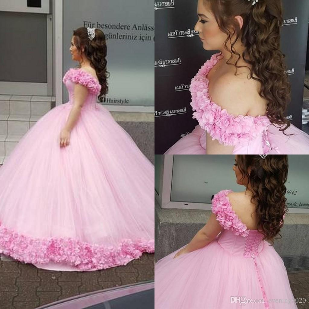99bacce48cb Pink Quinceanera Dresses Sweet Blush Pink Tulle Ball Gowns Floral Off The  Shoulder Hand Made Flowers Party Dresses Abc Quinceanera Dresses Ball Gowns  ...