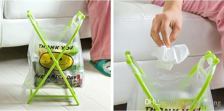Folding X-type Plastic Garbage Bag Rack Small Plastic Bag Hanging Storage Holder Portable Trash Home Kitchen Storage Rack