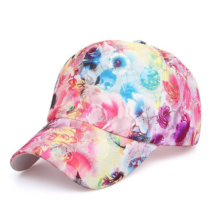Summer Women s Fashion Casual Sunscreen Breathable Flower Print Lace Baseball  Cap Snapback Female Mesh Hat Summer Flower Cap Lids Hats Visors From Buete ba24484ed0ee