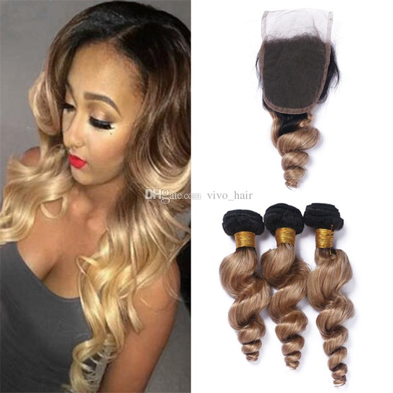2019 8a Ombre 1b 27 Blonde Hair Bundles And Lace Closure Black Roots