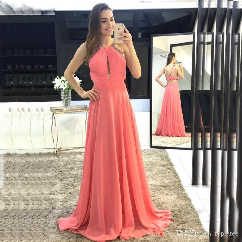 Sexy Coral Prom Dress Long Formal Evening Party Gowns Halter Neck