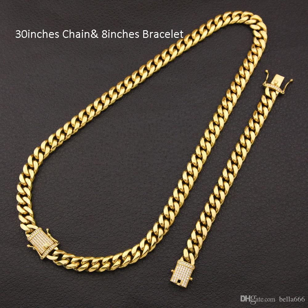 Men Stainless Steel Cuban Chain Necklace Bracelet Set Miami Cubic Zirconia Hip Hop Box Clasp Chains&Bracelets Jewelry Sets 12mm 14mm Width