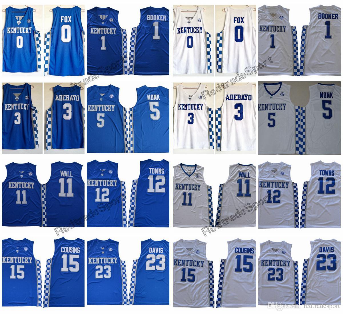 Kentucky Wildcats 5 Malik Monk 3 Adebayo 0 Fox 1 Devin Booker 11 John Wall  12 Towns 15 Cousins 23 Anthony Davis College Basketball Jersey John Wall  Jersey ... 825e2f14e