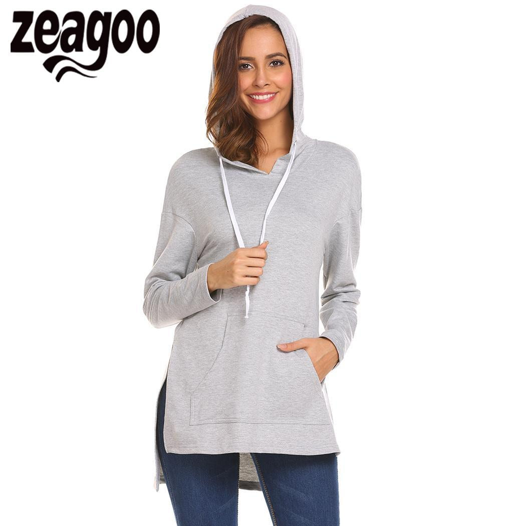 2019 None Sleeve Casual Hooded Long Women Solid Side Split Pullover Hoodie  From Karel 0949a432e3