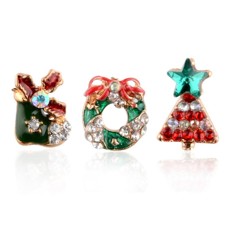 Europe and America exquisite and lovely Christmas star shoes, wreath jewelry earrings, Christmas tree earrings wholesale