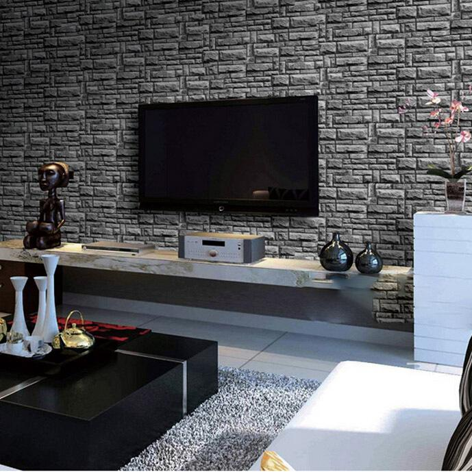 Living Room 3d Background Vintage Black Brick Vinyl Wallpaper Roll 10 Meters Free Shipping