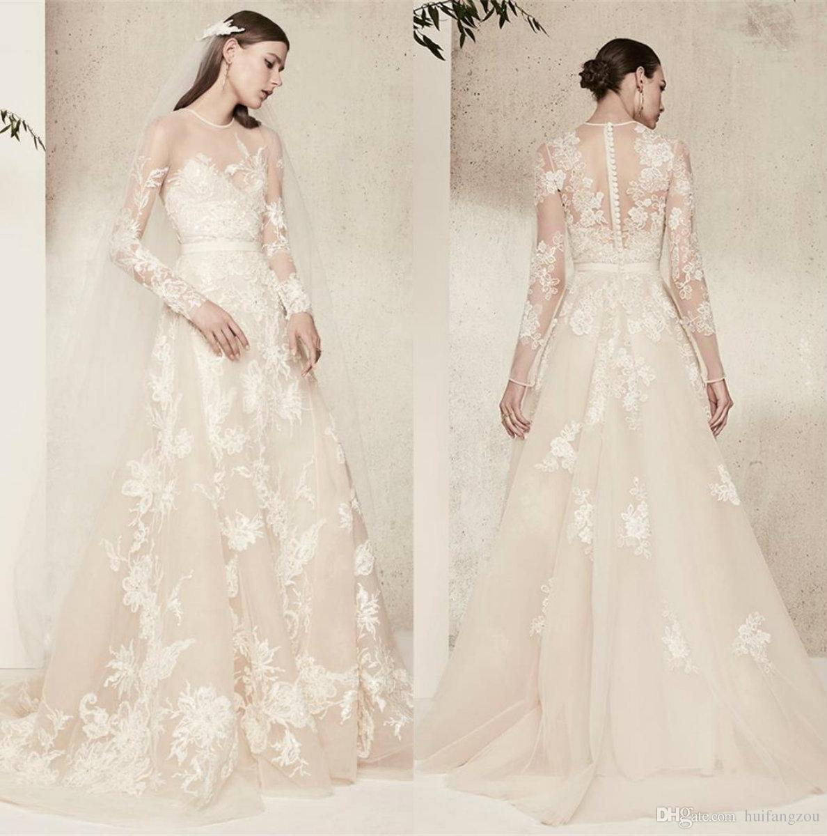 f8835098bd87 Discount Elie Saab Illusion A Line Wedding Dresses Sheer Neck Delicate Lace  Applique Long Sleeves Bridal Gowns Custom Made Country Wedding Dress Dress  ...