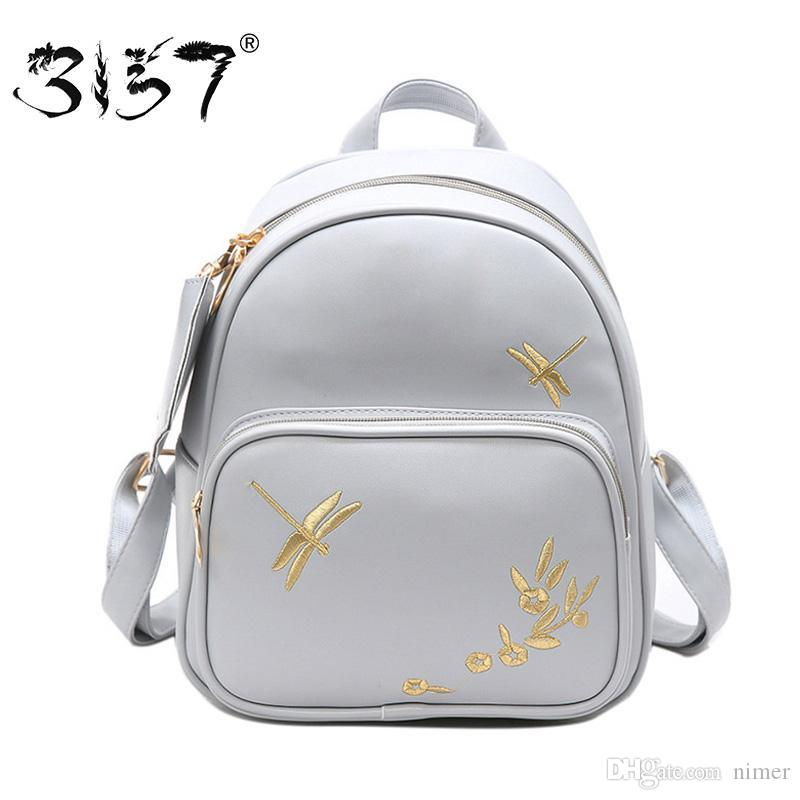 8a19762e3b Fashion Women Leather Backpack Set Handmade Embroidery Dragonfly Floral  School Bags For Girls Small Newest Female Backpacks 3157 Herschel Backpacks  Best ...